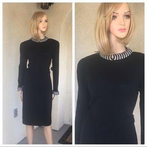 Vintage St. John evening knit black dress size 12